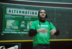 "Max Rademacher of Alternatiba led GGJ's ""up with the People"" chant in French, alongside Cindy in English at Climate Convergence in Tunis."