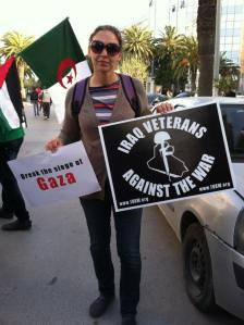 Maggie at the Palestine March during the World Social Forum