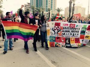 The LGBT contingent joining GGJ and the World March of Women during the Palestine March in Tunisia.