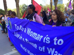 GGJ delegates marching with the World March of Women in Tunis.